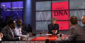 In studio Pauw en Witteman bij presentatie Kroongetuige DNA
